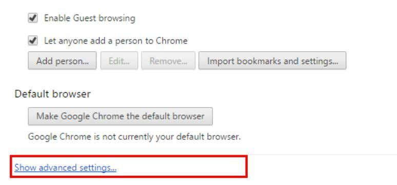 the top-right corner of Chrome, click the Menu > Settings. 2. At the bottom of the