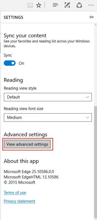 "2. Click ""View Advanced Settings""."