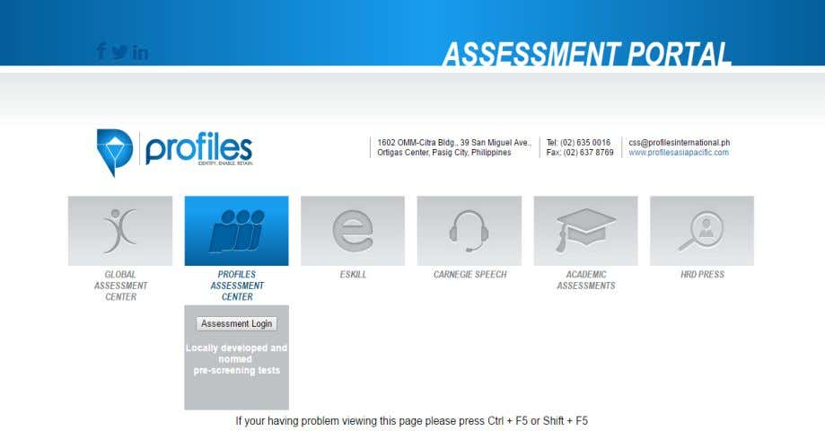 "click ""Assessment Login"". Once clicked, a pop up window will appear and ask for your login"