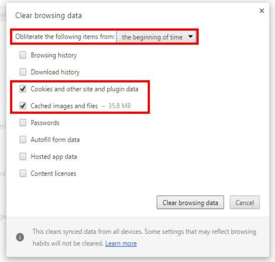 "plugin data"" and ""Cached images and files"" and click ""Clear Browsing data"" BACK TO Previous Page"