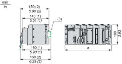 Drawings BMXDRA1605 Modules Mounted on Racks Dimensions (1) With removable terminal block (cage, screw or