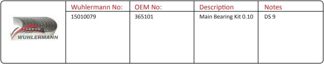 Wuhlermann No: OEM No: Description Notes 15010079 365101 Main Bearing Kit 0.10 DS 9
