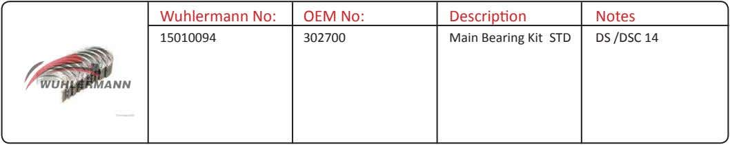 Wuhlermann No: OEM No: Description Notes 15010094 302700 Main Bearing Kit STD DS /DSC 14