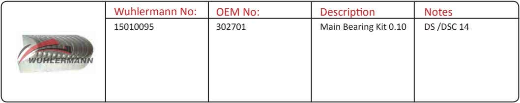 Wuhlermann No: OEM No: Description Notes 15010095 302701 Main Bearing Kit 0.10 DS /DSC 14
