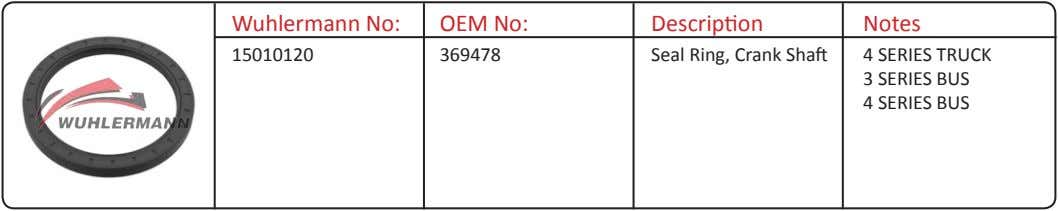Wuhlermann No: OEM No: Description Notes 15010120 369478 Seal Ring, Crank Shaft 4 SERIES TRUCK