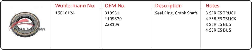 Wuhlermann No: OEM No: Description Notes 15010124 310951 Seal Ring, Crank Shaft 3 SERIES TRUCK