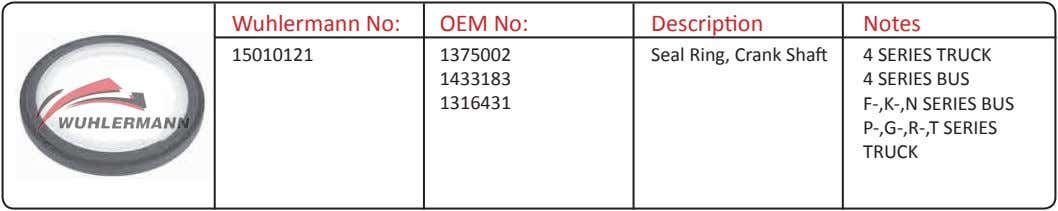 Wuhlermann No: OEM No: Description Notes 15010121 1375002 Seal Ring, Crank Shaft 4 SERIES TRUCK