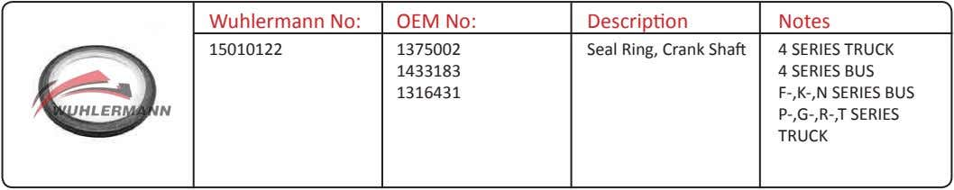 Wuhlermann No: OEM No: Description Notes 15010122 1375002 Seal Ring, Crank Shaft 4 SERIES TRUCK
