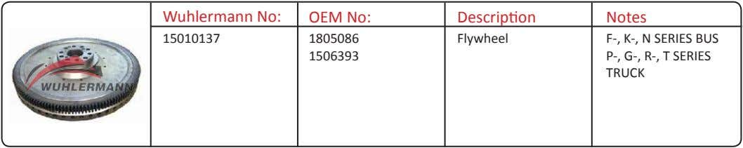 Wuhlermann No: OEM No: Description Notes 15010137 1805086 Flywheel 1506393 F-, K-, N SERIES BUS