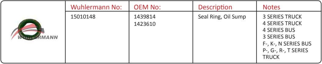 Wuhlermann No: OEM No: Description Notes 15010148 1439814 Seal Ring, Oil Sump 3 SERIES TRUCK