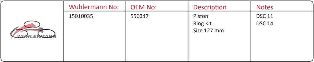 Wuhlermann No: OEM No: Description Notes 15010035 550247 Piston Ring Kit Size 127 mm DSC