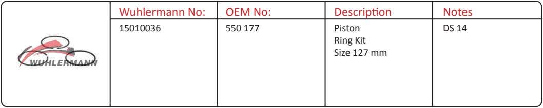 Wuhlermann No: OEM No: Description Notes 15010036 550 177 Piston Ring Kit Size 127 mm