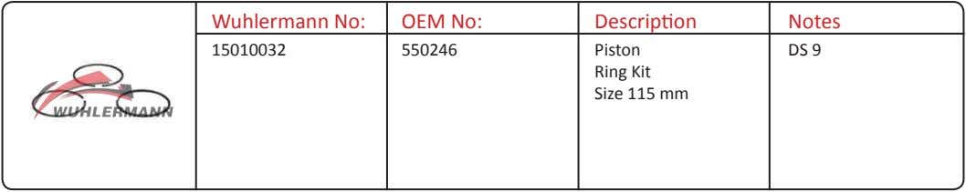Wuhlermann No: OEM No: Description Notes 15010032 550246 Piston Ring Kit Size 115 mm DS