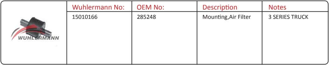 Wuhlermann No: OEM No: Description Notes 15010166 285248 Mounting,Air Filter 3 SERIES TRUCK