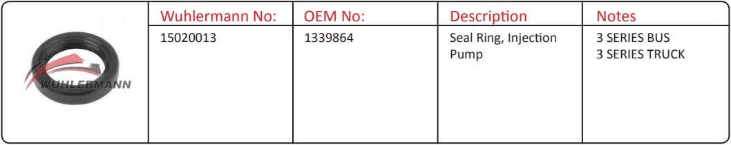 Wuhlermann No: OEM No: Description Notes 15020013 1339864 Seal Ring, Injection Pump 3 SERIES BUS
