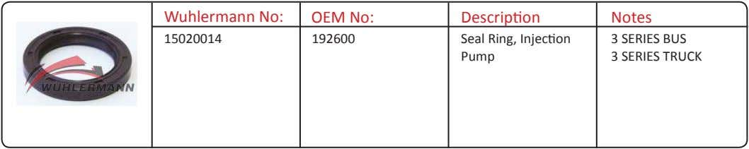 Wuhlermann No: OEM No: Description Notes 15020014 192600 Seal Ring, Injection Pump 3 SERIES BUS