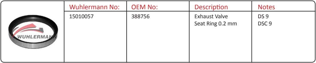 Wuhlermann No: OEM No: Description Notes 15010057 388756 Exhaust Valve Seat Ring 0.2 mm DS
