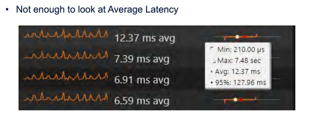 • Not enough to look at Average Latency