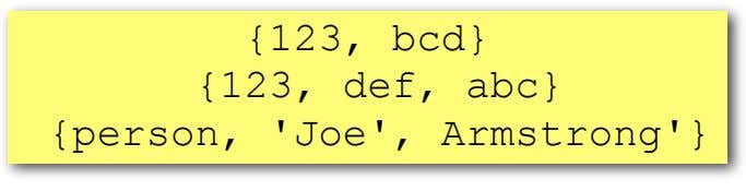 {123, bcd} {123, def, abc} {person, 'Joe', Armstrong'}