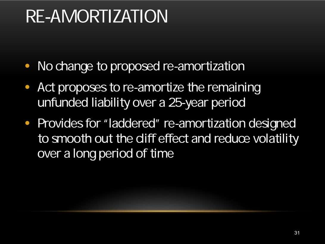 RE-AMORTIZATION • No change to proposed re-amortization • Act proposes to re-amortize the remaining unfunded
