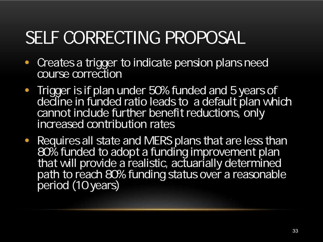 SELF CORRECTING PROPOSAL • Creates a trigger to indicate pension plans need course correction •