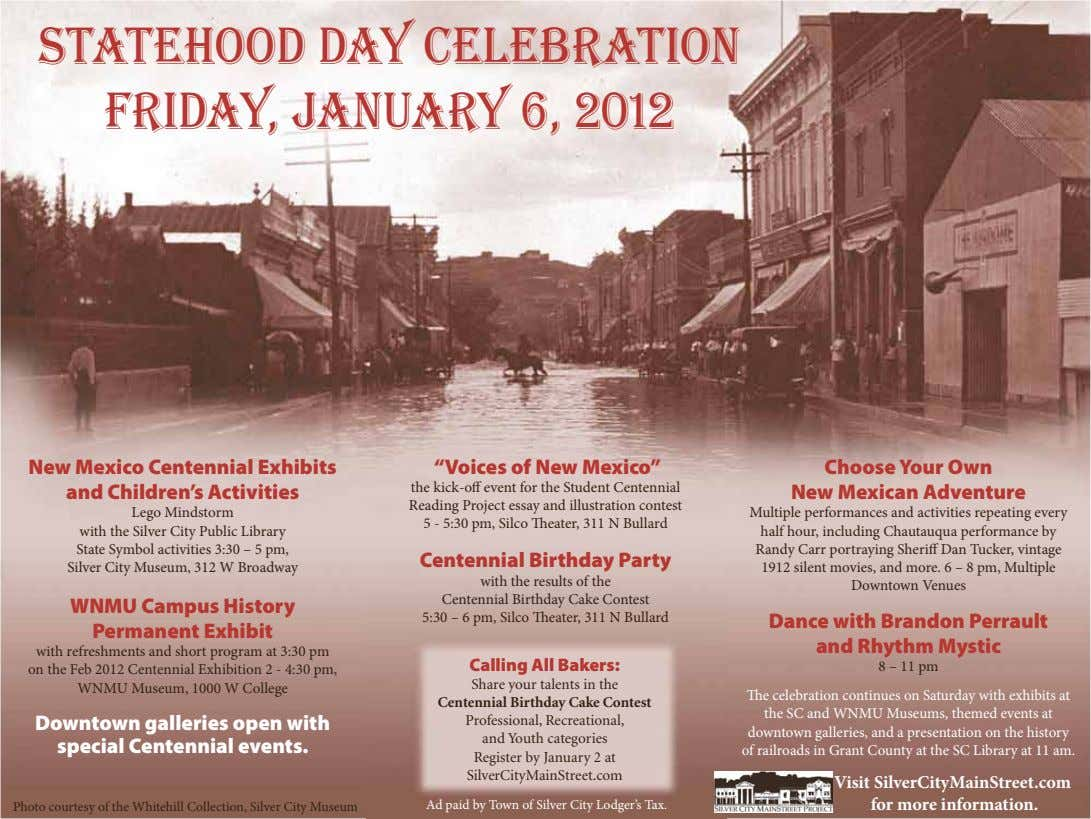 "Statehood Day Celebration Friday, January 6, 2012 New Mexico Centennial Exhibits and Children's Activities ""Voices"