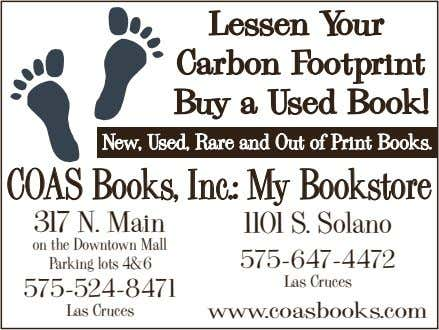 Lessen Your Carbon Footprint Buy a Used Book! COAS Books, Inc.: My Bookstore 317 N.