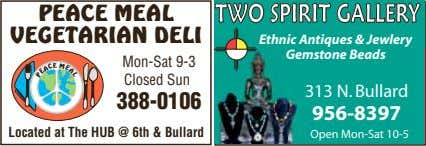 PEACE MEAL VEGETARIAN DELI TWO SPIRIT GALLERY Ethnic Antiques & Jewlery M E Gemstone Beads