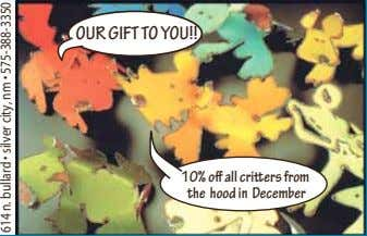 OUR GIFT TO YOU!! 10% o all cri ers from the hood in December 614