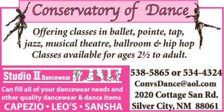 of Dance Offering classes in ballet, pointe, tap, jazz, musical theatre, ballroom & hip hop