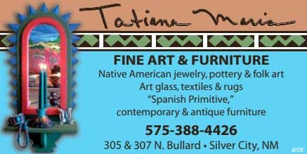 FINE F ART & FURNITURE Nativ Native American jewelry, pottery & folk art Art glass,