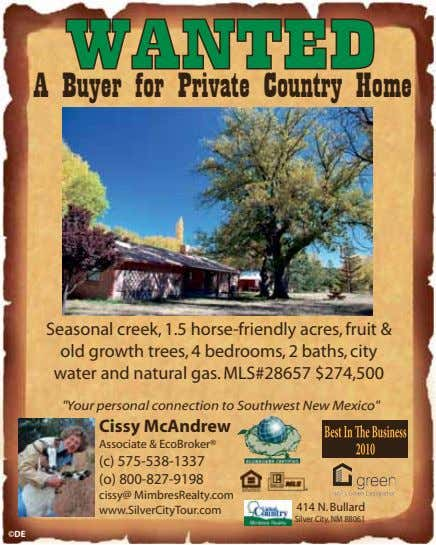 WANTED A Buyer for Private Country Home Seasonal creek, 1.5 horse-friendly acres, fruit & old