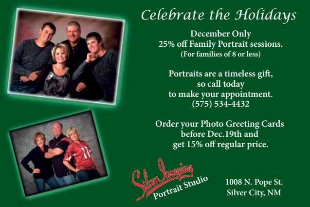 Celebrate the Holidays December Only 25% o Family Portrait sessions. (For families of 8 or