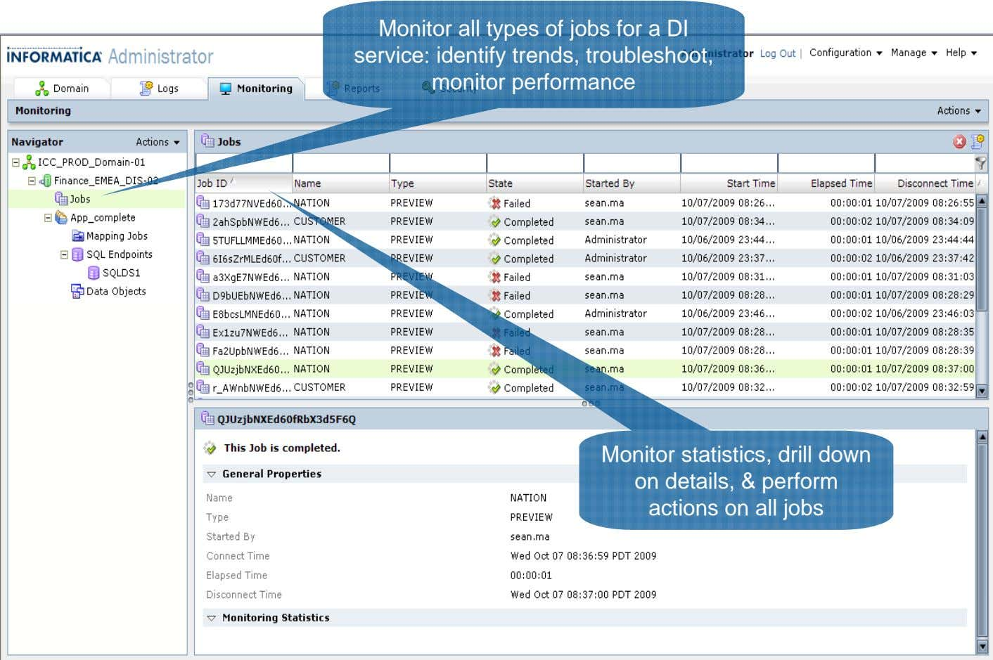 Monitor all types of jobs for a DI service: identify trends, troubleshoot, monitor performance Monitor