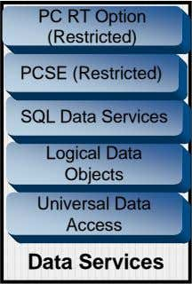 PC RT Option (Restricted) PCSE (Restricted) SQL Data Services Logical Data Objects Universal Data Access