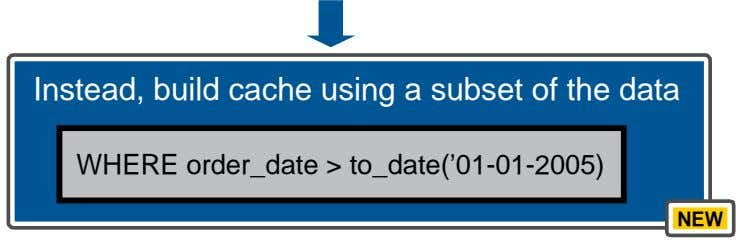 Instead, build cache using a subset of the data WHERE order_date > to_date('01-01-2005) NEW