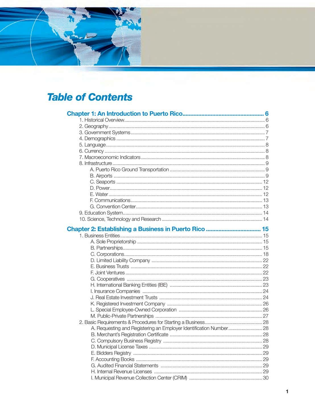Table of Contents Chapter 1: An Introduction to Puerto Rico 6 1. Historical Overview 6
