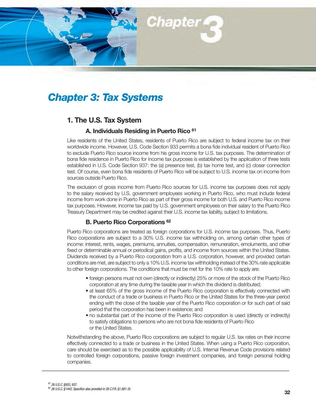 Chapter 3: Tax Systems 1. The U.S. Tax System A. Individuals Residing in Puerto Rico