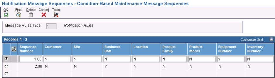 the Condition-Based Maint enance Message Se quences form. Condition-Based Maintenance Message Sequences form Sequence