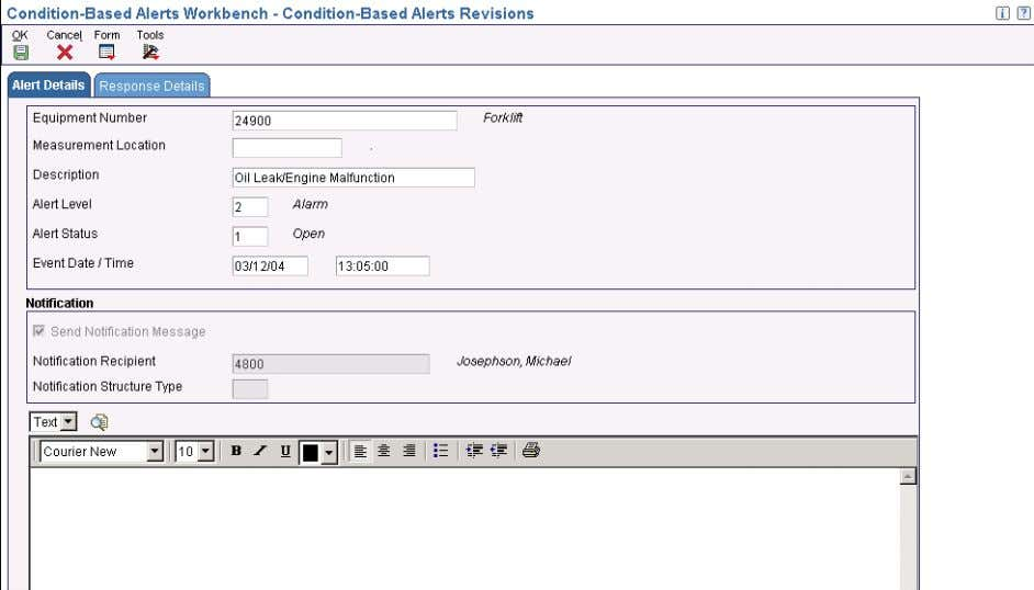 Working with Condition-Based Alerts Chapter 3 Condition-Based Alerts Revisions form Equipment Number Measurement