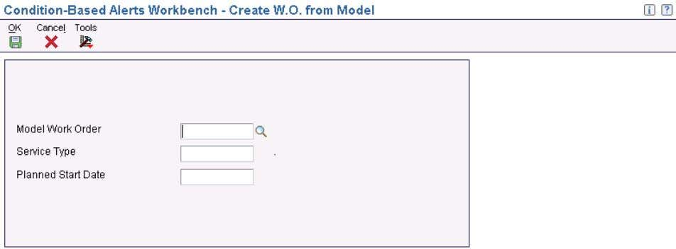 a Work Order Access the Create W.O. from Model form. Create W.O. from Model form Note.
