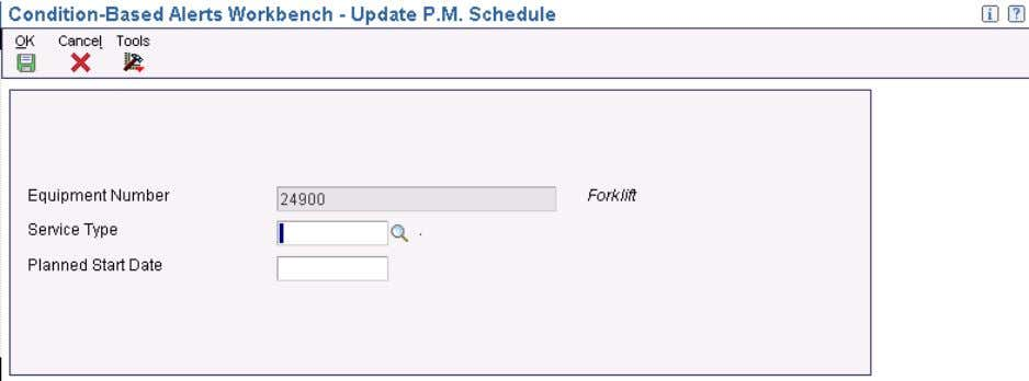Maintenance Schedule Access the Update P.M. Schedule form. Update P.M. Schedule form Note. If you set