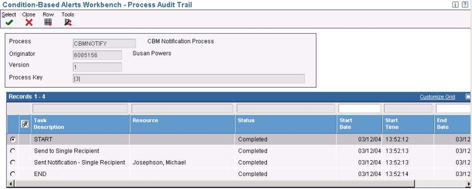 Chapter 3 Working with Condition-Based Alerts Process Audit Trail form Completing Condition-Based Alerts This section