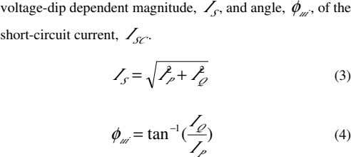 voltage-dip dependent magnitude, I , and angle, , of the S φ ui short-circuit current,