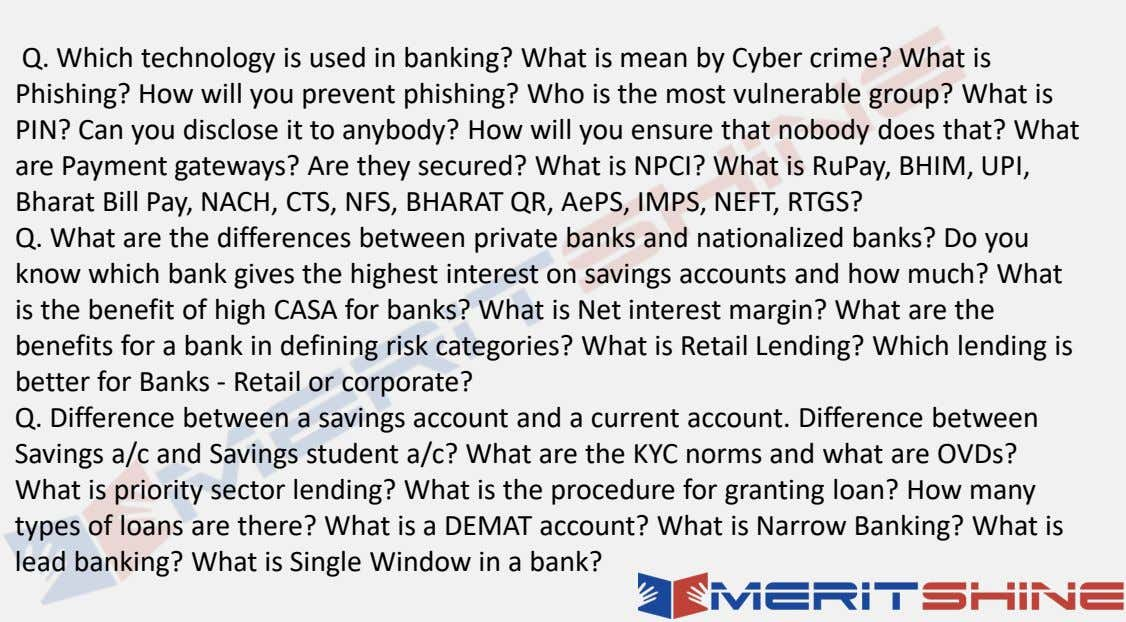 Q. Which technology is used in banking? What is mean by Cyber crime? What is