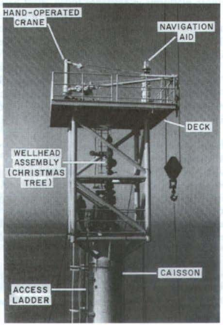 Figure 1-2. Typical caisson well-guard platform. [Drawe and Riefel, Ed. McClelland and Riefel, Copyright ©