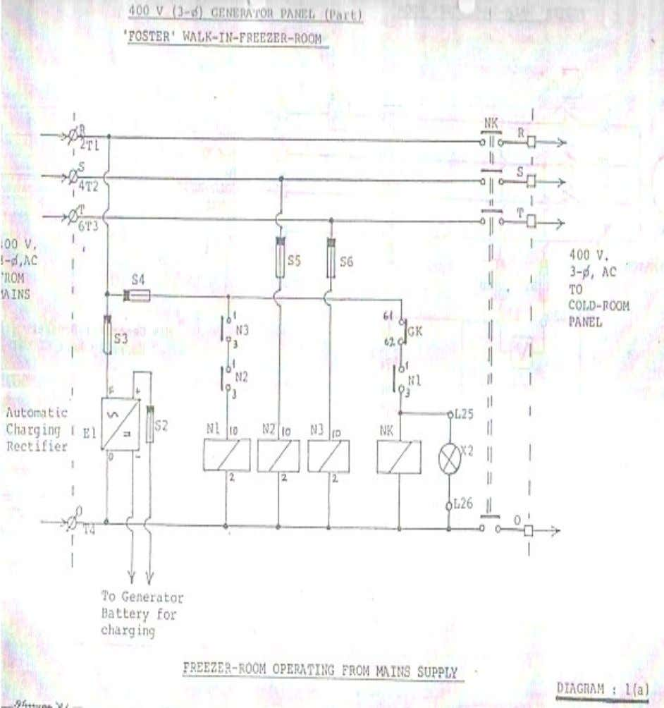 FREEZER ROOM OPERATING FROM MAINS SUPPLY DIAGRAM : 1(a) 22