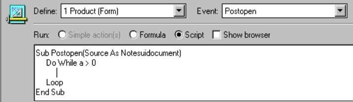 editor window changes as shown in the following figure: LotusScript is not case sensitive, except for