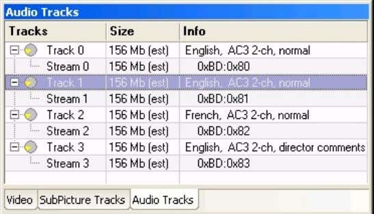 Figure 1 The Audio Tracks Pane shows the audio tracks for the selected domain, and