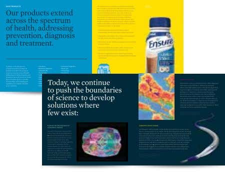 Laboratories. All rights reserved. Corporate advertisement Consolidated brochure inside spread (with product content)
